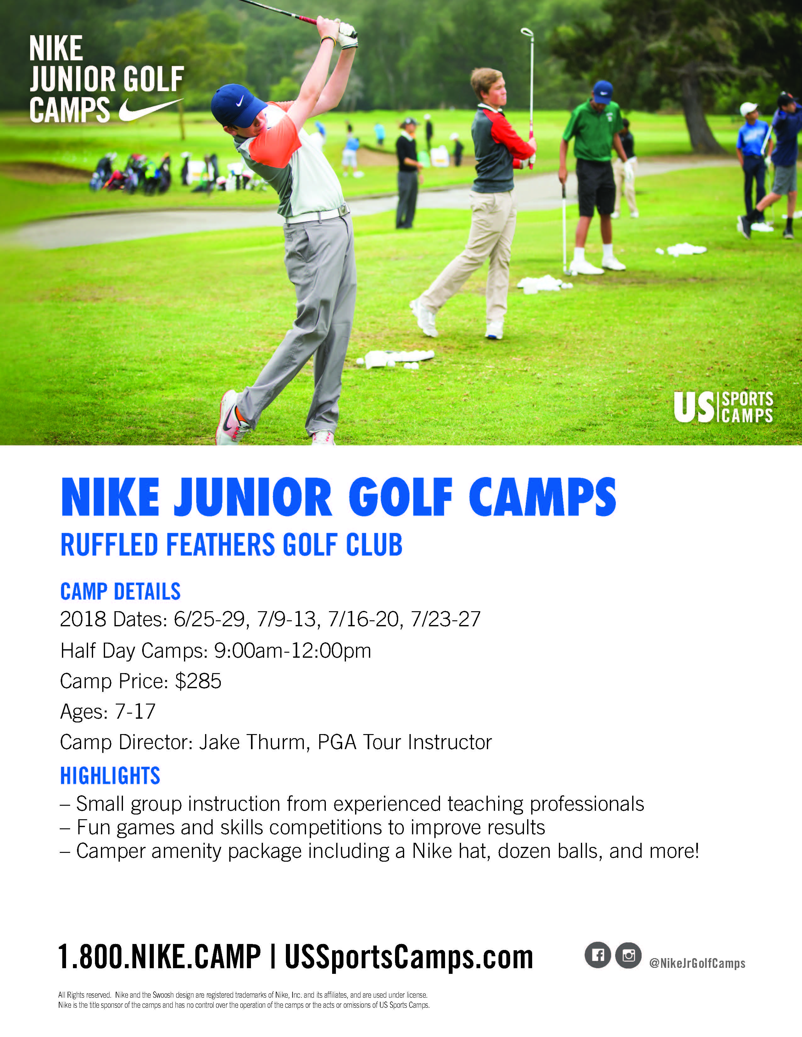 Nike JR golf camp flyer