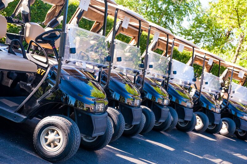 Golf Carts staged for golfers