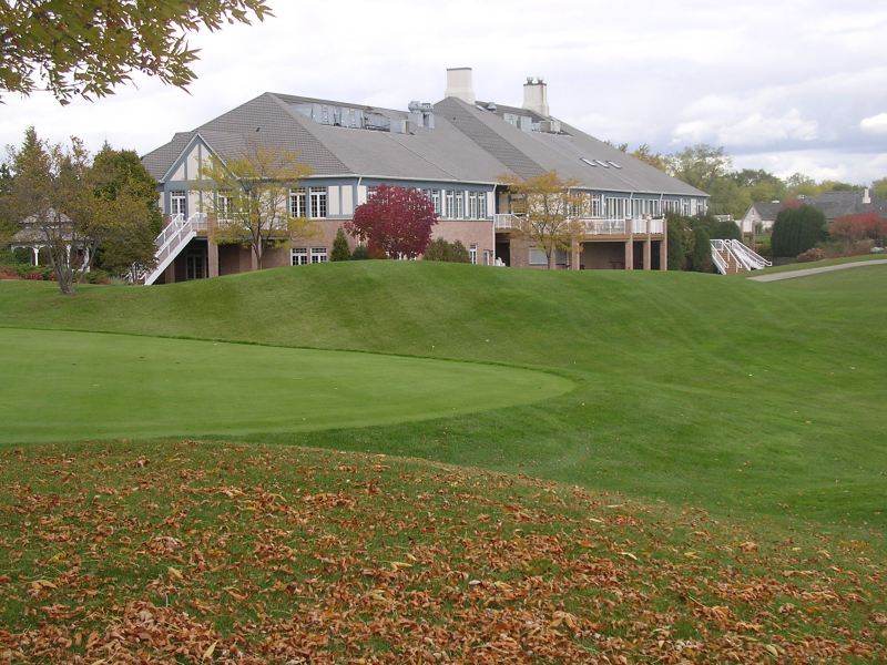 Back view of clubhouse near hole 11 tee box