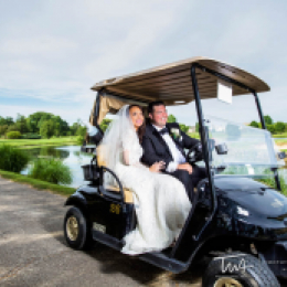 Bride and Groom ready for wedding in golf cart