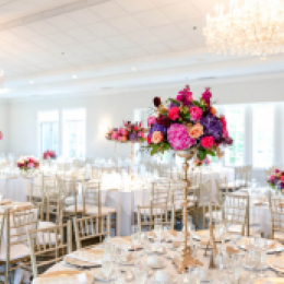 White wedding with centerpieces