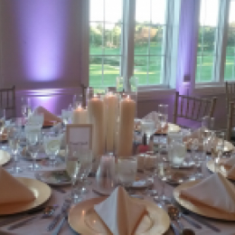 Wedding table set with centerpieces